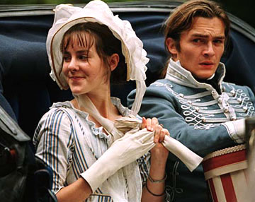 Cad's carriage: Wickham doesn't look best pleased while Lydia Bennet has a satisfied smirk