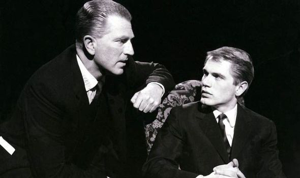 John Freeman (left) and Adam Faith pictured preparing for the Face to Face interview aired on the BBC in 1960