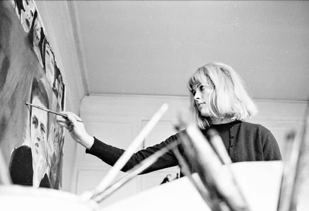 Pauline Boty painting in her studio. Copyright © Michael Seymour